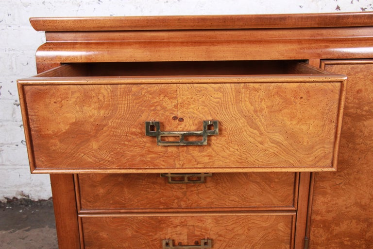 Century Furniture Hollywood Regency Chinoiserie Burl Wood Dresser or Credenza For Sale 5