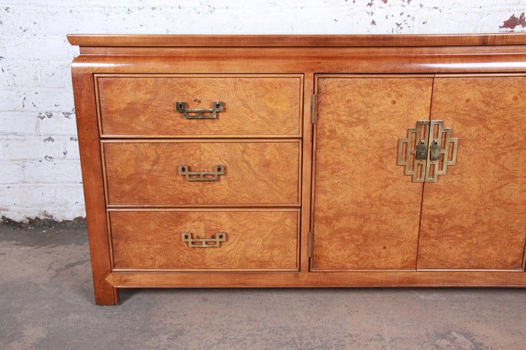 Brass Century Furniture Hollywood Regency Chinoiserie Burl Wood Dresser or Credenza For Sale
