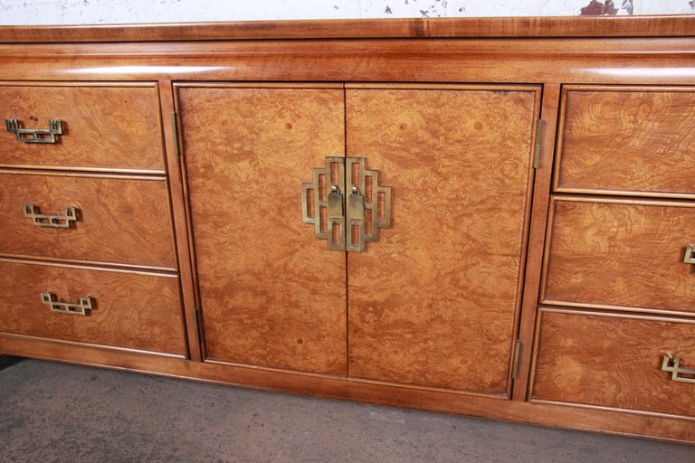 Century Furniture Hollywood Regency Chinoiserie Burl Wood Dresser or Credenza For Sale 1