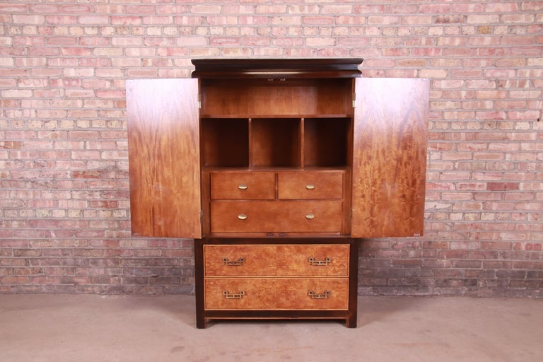 Century Furniture Hollywood Regency Chinoiserie Burl Wood Gentleman's Chest For Sale 3