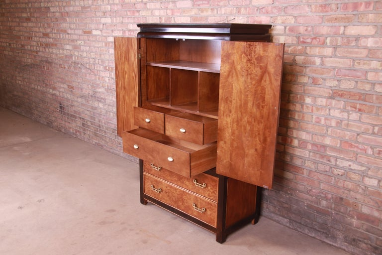 Century Furniture Hollywood Regency Chinoiserie Burl Wood Gentleman's Chest For Sale 4