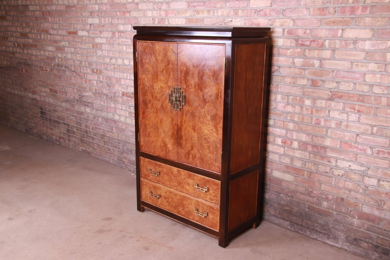 Mid-Century Modern Century Furniture Hollywood Regency Chinoiserie Burl Wood Gentleman's Chest For Sale