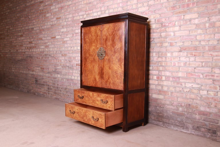 American Century Furniture Hollywood Regency Chinoiserie Burl Wood Gentleman's Chest For Sale