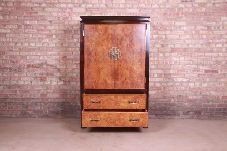 Century Furniture Hollywood Regency Chinoiserie Burl Wood Gentleman's Chest In Good Condition For Sale In South Bend, IN