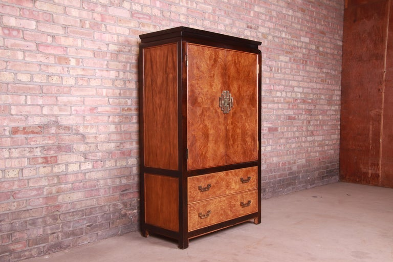 Late 20th Century Century Furniture Hollywood Regency Chinoiserie Burl Wood Gentleman's Chest For Sale
