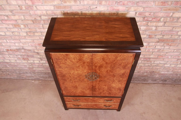 Brass Century Furniture Hollywood Regency Chinoiserie Burl Wood Gentleman's Chest For Sale