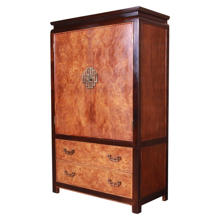 Century Furniture Hollywood Regency Chinoiserie Burl Wood Gentleman's Chest For Sale