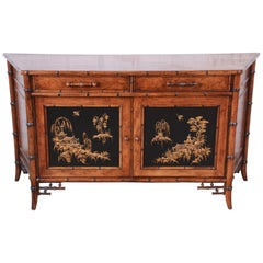 Century Furniture Hollywood Regency Chinoiserie Faux Bamboo Credenza, Italy