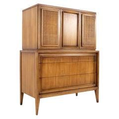 Century Furniture MCM Walnut and Cane Highboy Dresser Armoire Gentleman's Chest