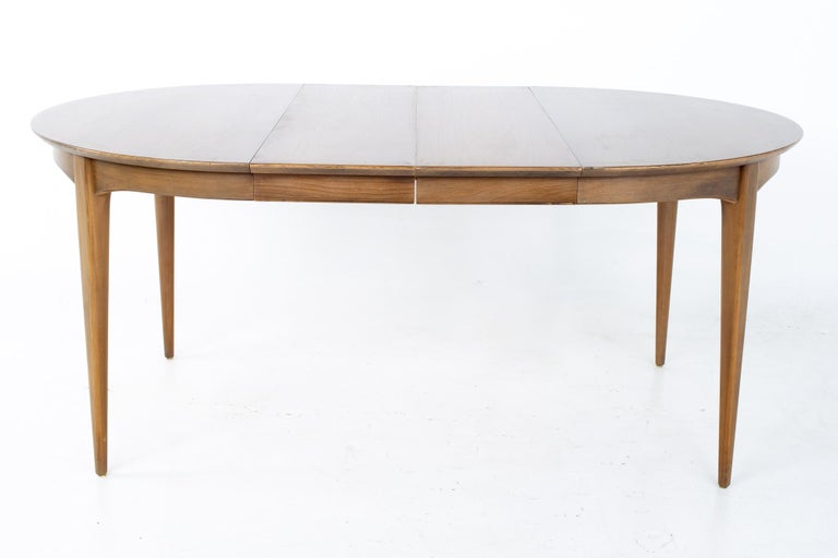 Century Furniture Mid Century Round Oval Expanding Walnut Dining Table For Sale 6
