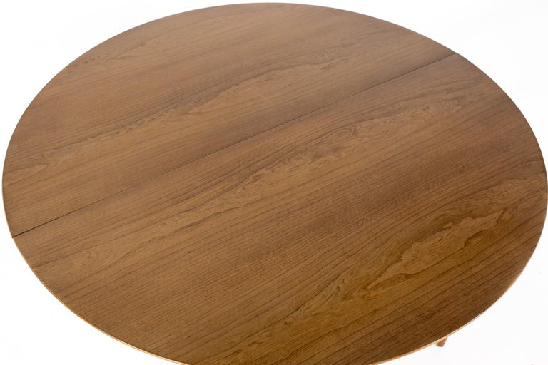 Century Furniture Mid Century Round Oval Expanding Walnut Dining Table For Sale 7