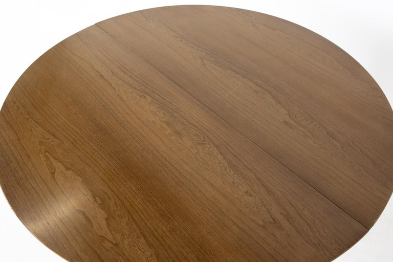 Century Furniture Mid Century Round Oval Expanding Walnut Dining Table For Sale 8