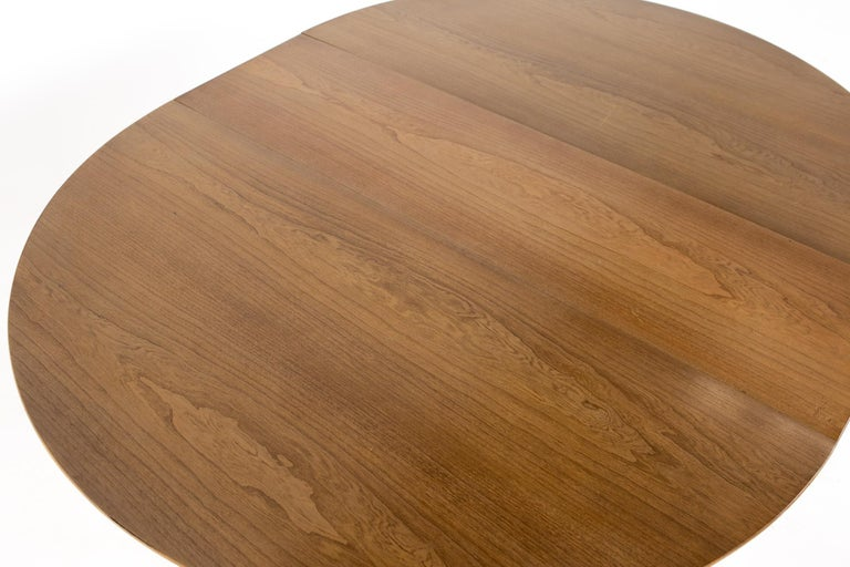 Century Furniture Mid Century Round Oval Expanding Walnut Dining Table For Sale 9
