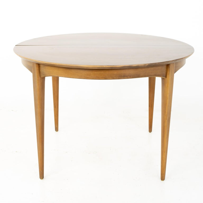 Mid-Century Modern Century Furniture Mid Century Round Oval Expanding Walnut Dining Table For Sale