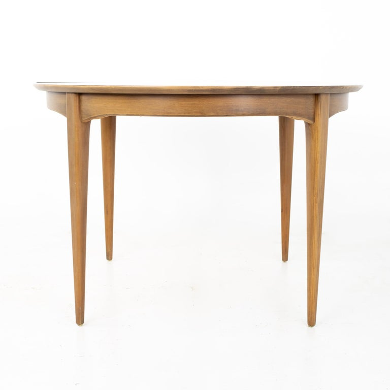 Late 20th Century Century Furniture Mid Century Round Oval Expanding Walnut Dining Table For Sale