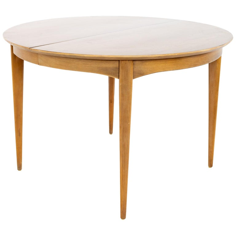Century Furniture Mid Century Round Oval Expanding Walnut Dining Table For Sale