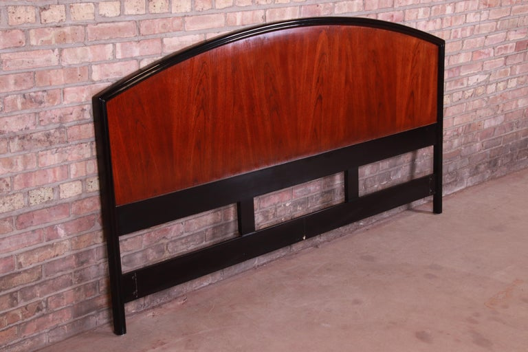American Century Furniture Modern Mahogany and Black Lacquer King Size Headboard For Sale