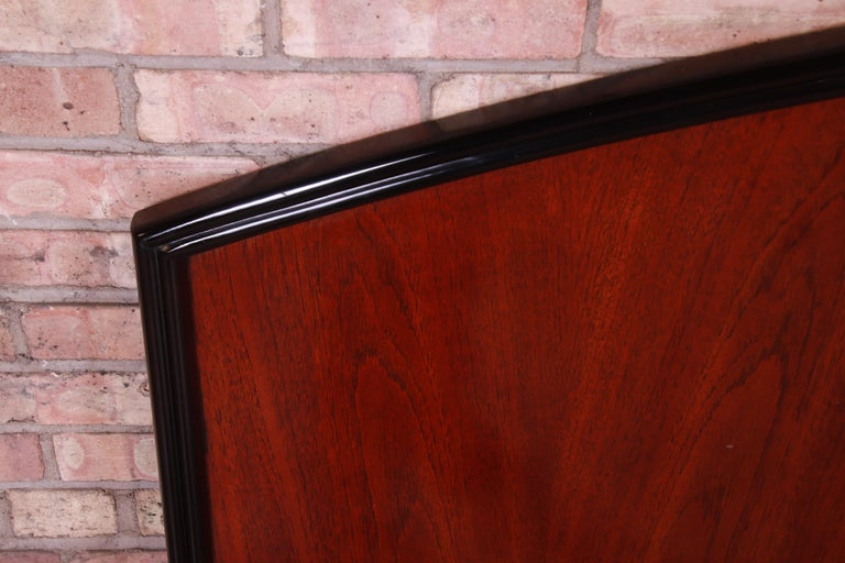 Century Furniture Modern Mahogany and Black Lacquer King Size Headboard In Good Condition For Sale In South Bend, IN