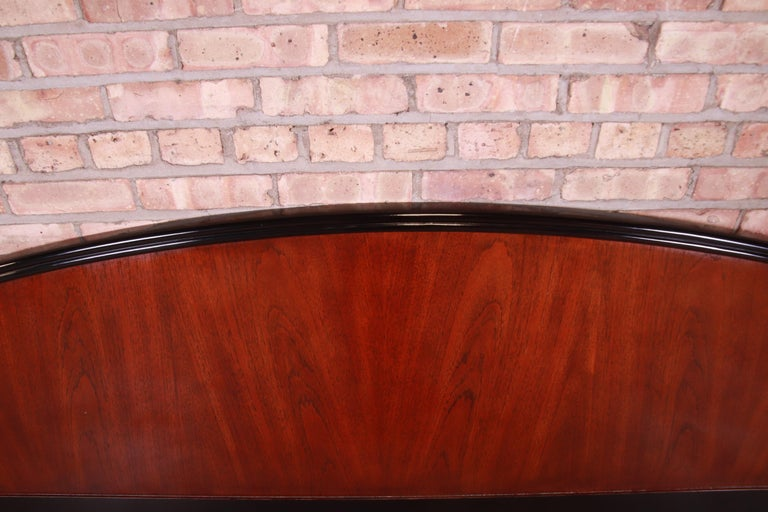 20th Century Century Furniture Modern Mahogany and Black Lacquer King Size Headboard For Sale