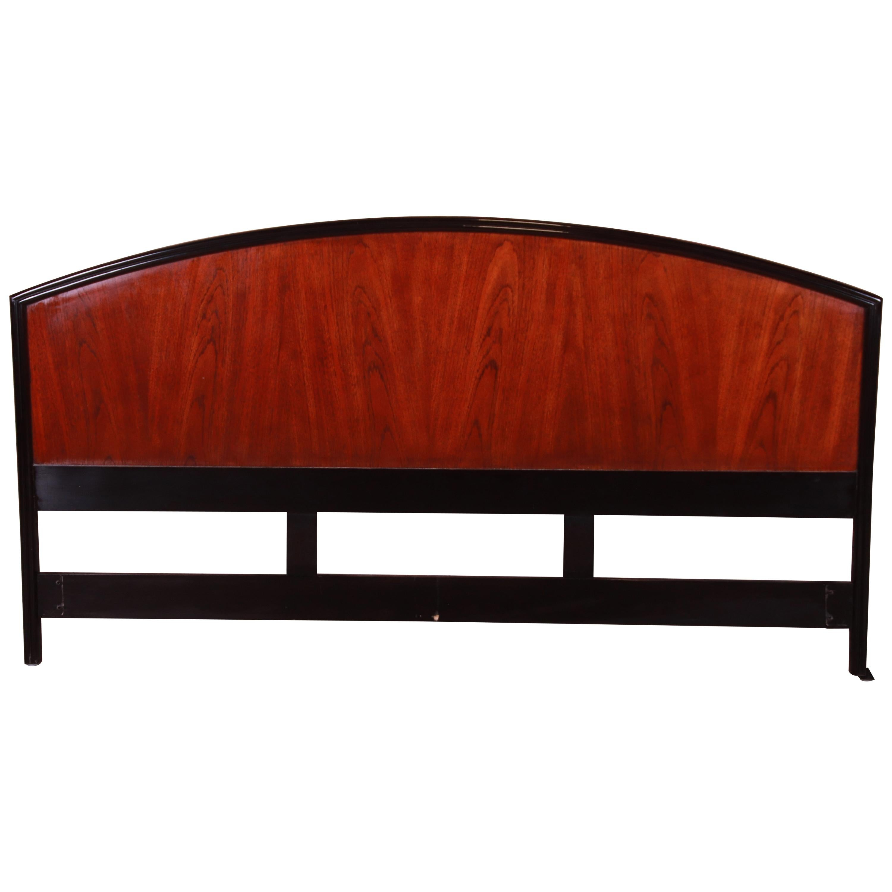 Century Furniture Modern Mahogany and Black Lacquer King Size Headboard