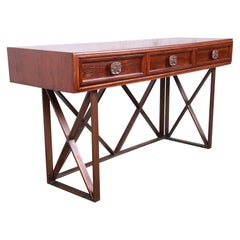 Century Furniture Modern Walnut X-Base Console or Writing Desk, Newly Refinished