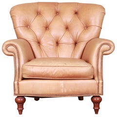 Century Furniture Tufted Leather Chesterfield Lounge Chair