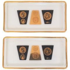 Cera 22-Karat Gold and Black Cocktail Plates, 1960s, Midcentury