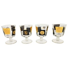 Cera 22-Karat Gold and Black Midcentury 1960s Glassware Barware Set of 4