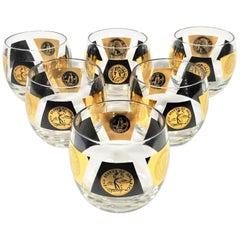 Cera 22-Karat Gold 1960s Midcentury Signed Glassware Barware Set of 6