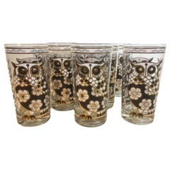 Cera Glassware Set of 8 Vintage Highball, Flower/Owl, Midcentury Barware