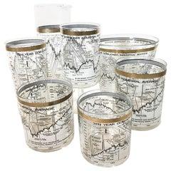Cera Glassware, Vintage Stock Market Barware, 40 Pieces, 10 Year Dow-Jones
