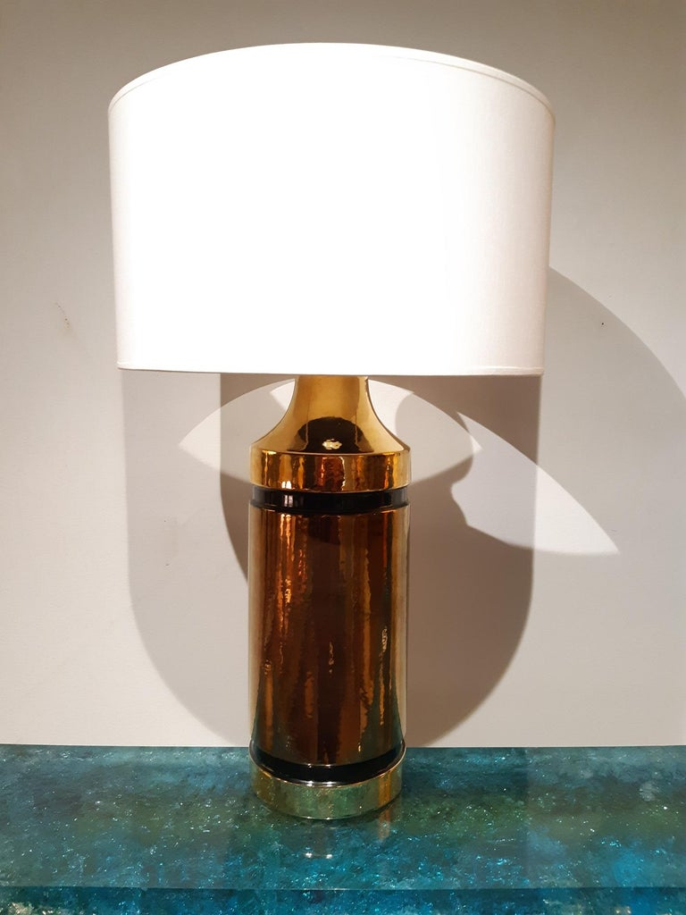 Italian Ceramic Aldo Londi Table Lamp Bitossi, Italy, 1960 For Sale