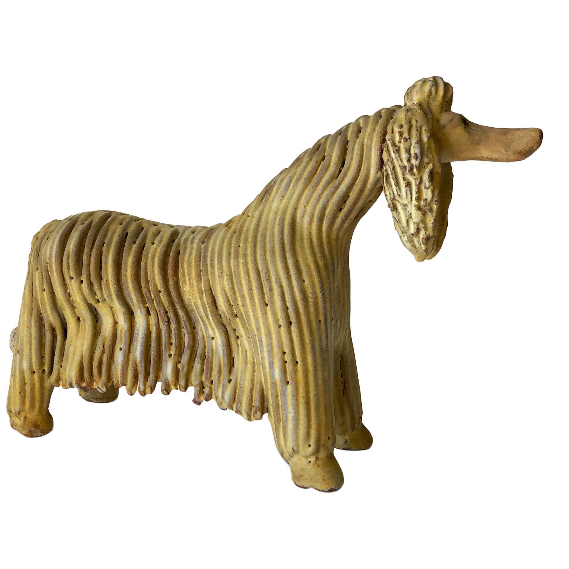 Ceramic Alfraraz Spanish Modernist Afghan Dog Sculpture