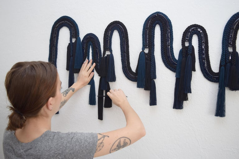 Ceramic and Braided Cotton/Tencel 7-Panel Wall Sculpture in Navy/Black - 60