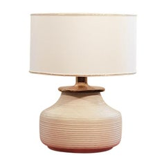 Ceramic and Brass 1970s Vintage White Big Table Lamp
