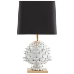 Ceramic and Brass Artichoke Table Lamp