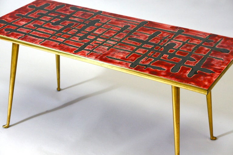 Ceramic and Brass Coffee Table  For Sale 4
