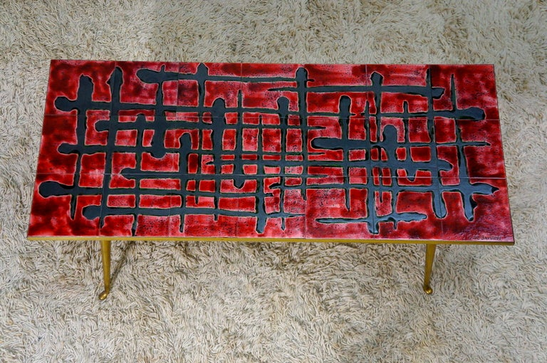 Mid-Century Modern Ceramic and Brass Coffee Table  For Sale