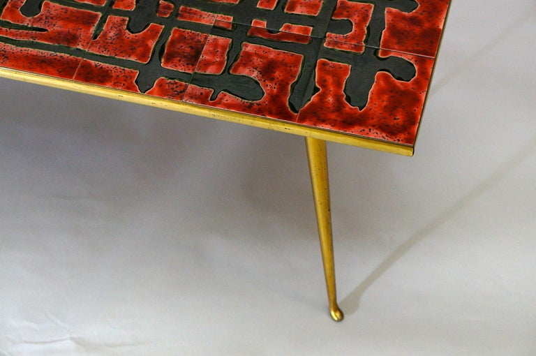 French Ceramic and Brass Coffee Table  For Sale