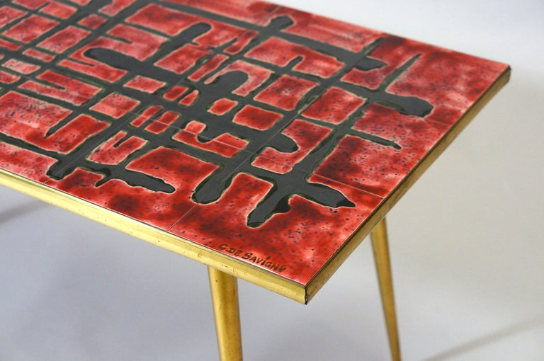 Ceramic and Brass Coffee Table  In Good Condition For Sale In Antwerp, BE
