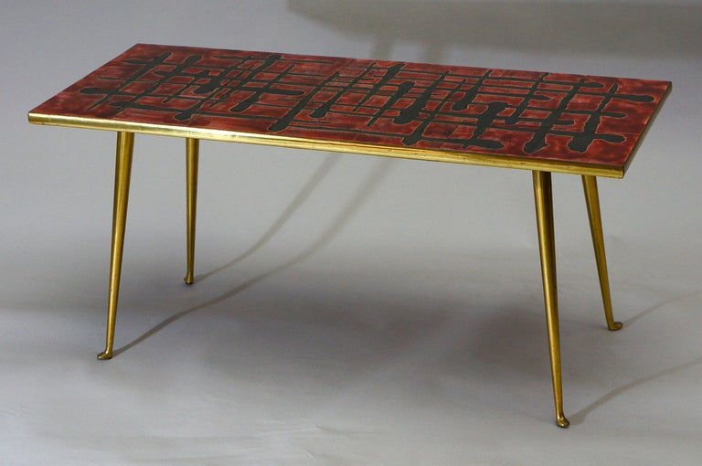 Ceramic and Brass Coffee Table  For Sale 1