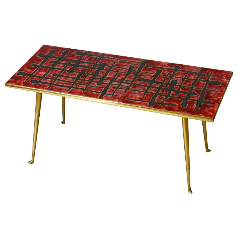 Ceramic and Brass Coffee Table  For Sale