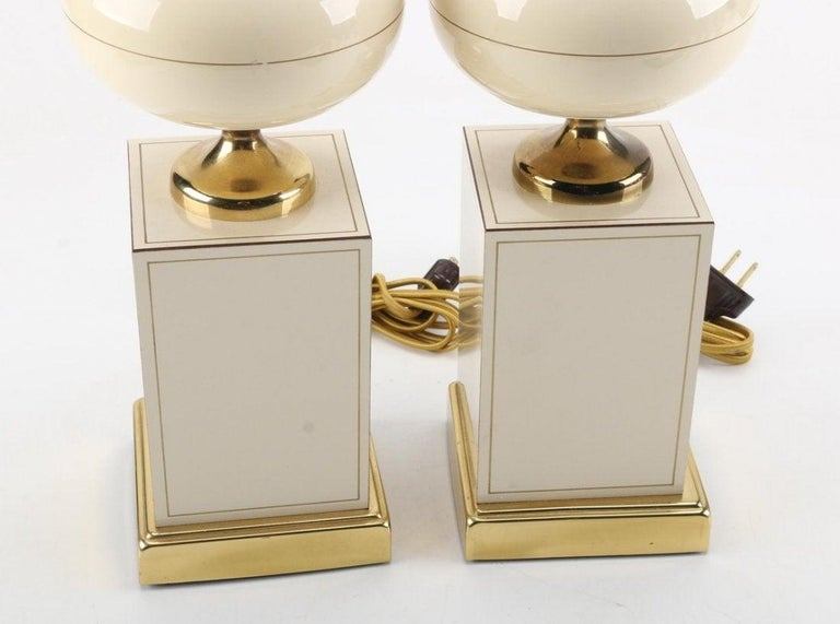 Ceramic and Brass Table Lamps, circa 1960 In Good Condition For Sale In Los Angeles, CA