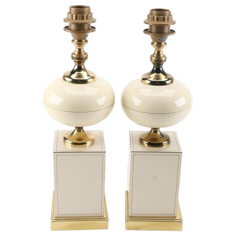 Ceramic and Brass Table Lamps, circa 1960 For Sale