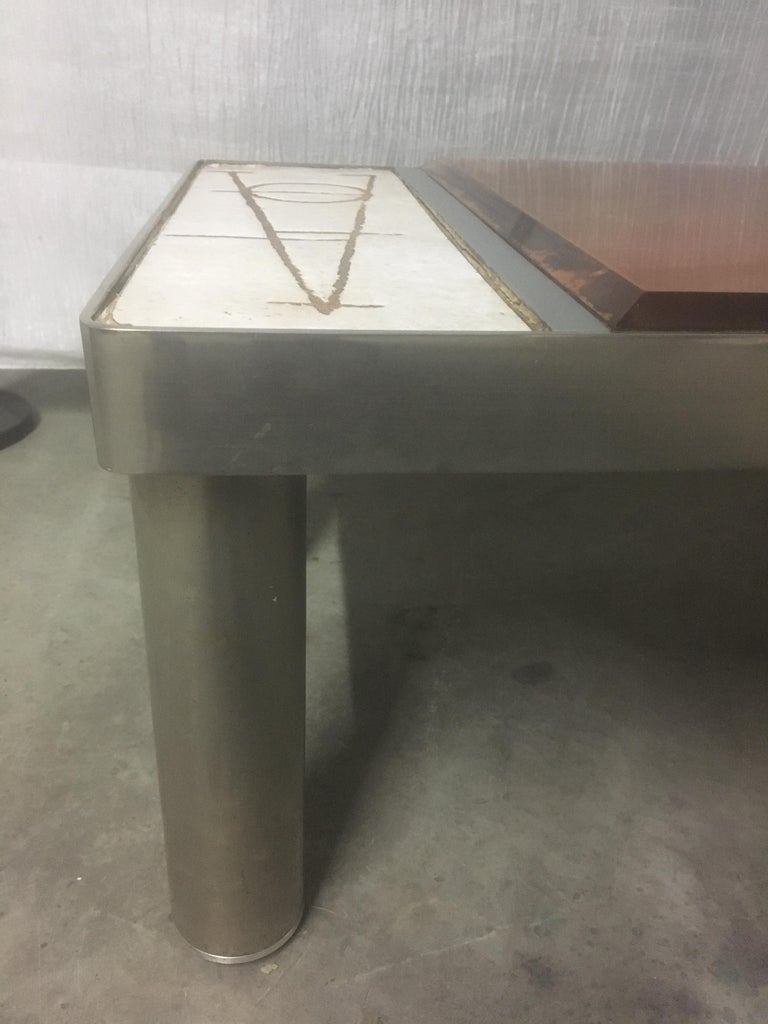 Ceramic and Chromed Metal Rectangular Coffee Table, Brown Glass Slab Top, 1970s For Sale 4