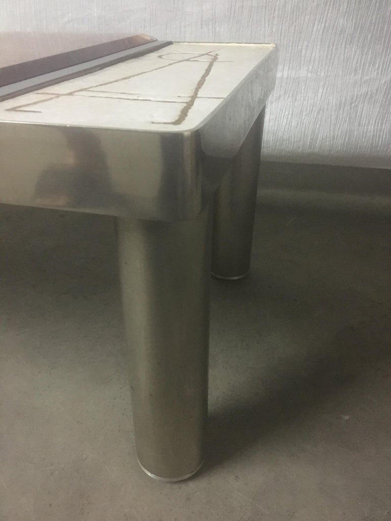 Ceramic and Chromed Metal Rectangular Coffee Table, Brown Glass Slab Top, 1970s For Sale 5