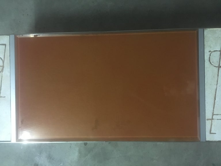 Ceramic and Chromed Metal Rectangular Coffee Table, Brown Glass Slab Top, 1970s For Sale 6