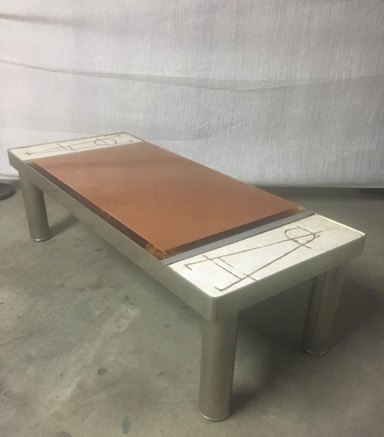 Futurist Ceramic and Chromed Metal Rectangular Coffee Table, Brown Glass Slab Top, 1970s For Sale