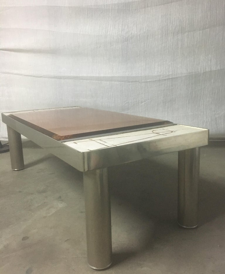 French Ceramic and Chromed Metal Rectangular Coffee Table, Brown Glass Slab Top, 1970s For Sale