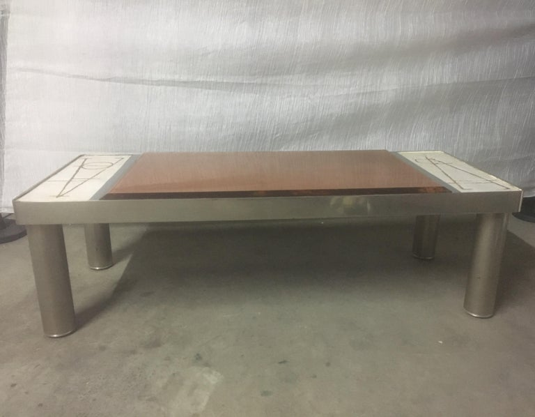 Ceramic and Chromed Metal Rectangular Coffee Table, Brown Glass Slab Top, 1970s In Good Condition For Sale In Aix En Provence, FR